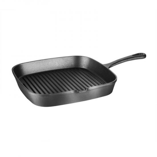 Vogue Square Cast Iron Ribbed Skillet Pan URO M653