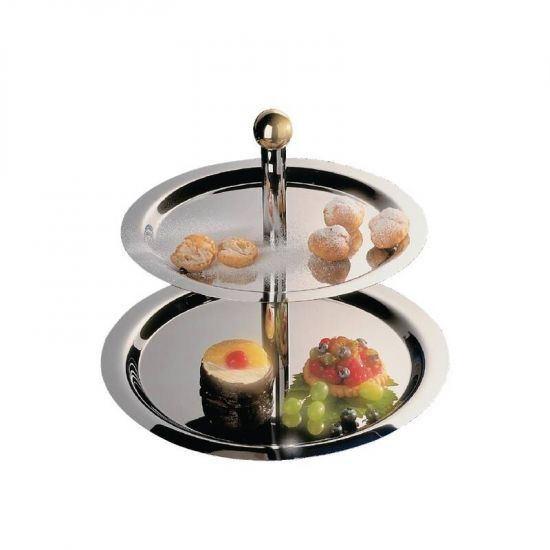 Stainless Steel 2 Tier Afternoon Tea Stand URO S025
