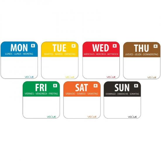 Colour Coded 1 inch Food Labels URO S151