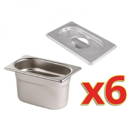 Set Of 6 Vogue Gastronorm Pans & Lids URO S430