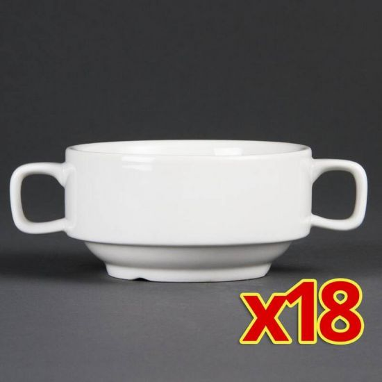 Special Offer Pack Of 18 Olympia Handled Soup Bowls 400ml Box of 18 URO S564