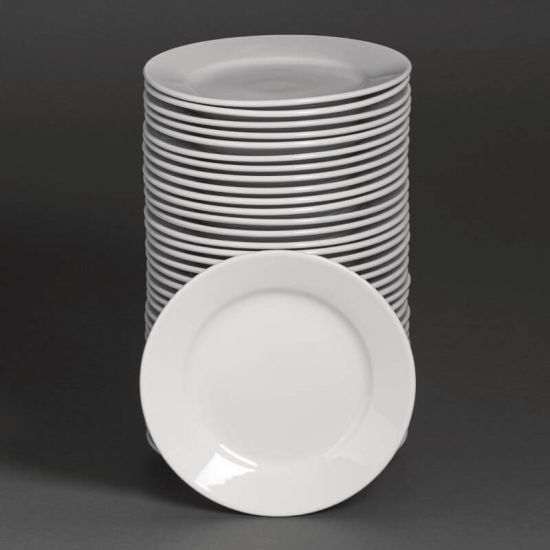 Bulk Buy Pack Of 36 Athena Hotelware Wide Rimmed Plate 228mm URO S608