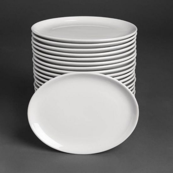 Bulk Buy Pack Of 24 Athena Hotelware Oval Coupe Plates 254 X 197mm (CC211) URO S756