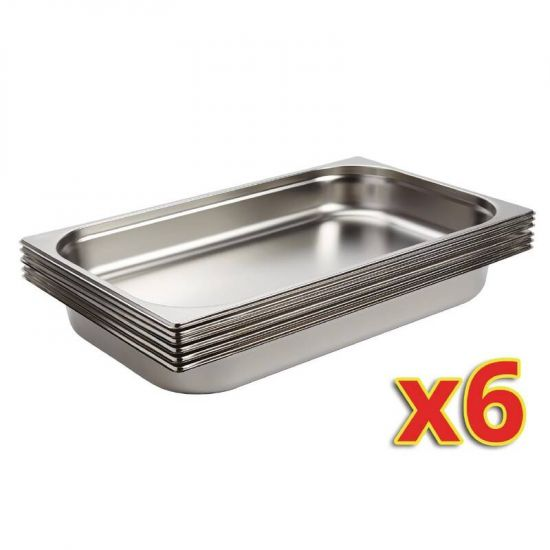 Vogue Stainless Steel 1/1 Gastronorm Pans 65mm Set Of 6 URO S895
