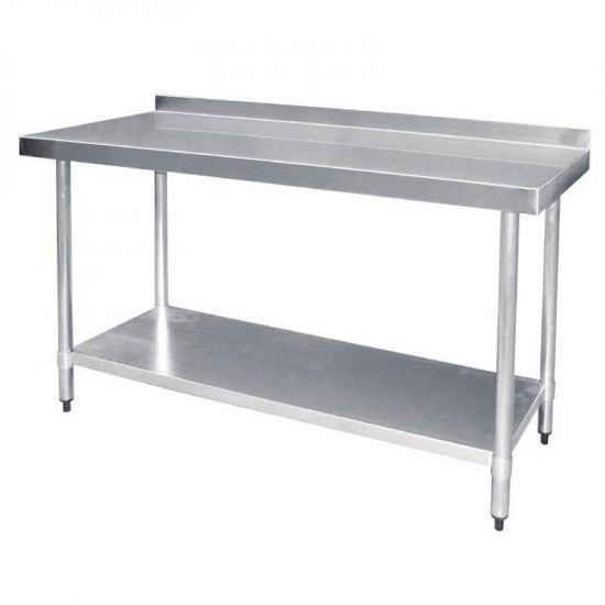 Vogue Stainless Steel Prep Table With Upstand 1800mm URO T383