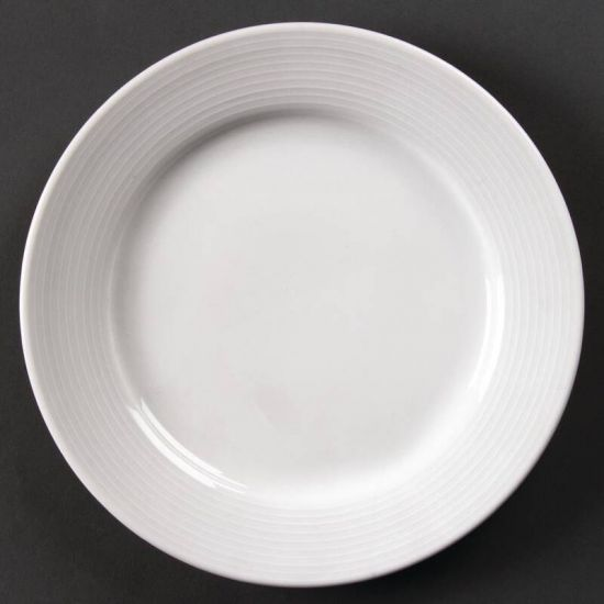 Olympia Linear Wide Rimmed Plates 200mm Box of 12 URO U090