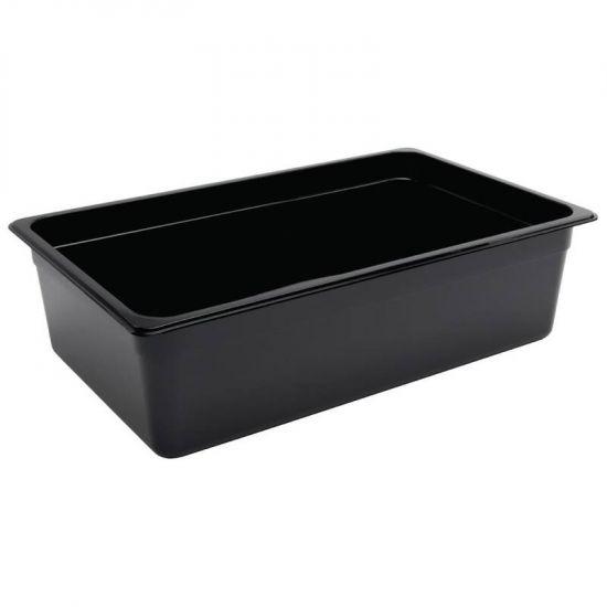 Vogue Polycarbonate 1/1 Gastronorm Container 150mm Black URO U456