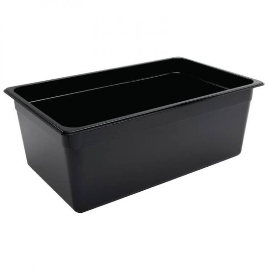 Vogue Polycarbonate 1/1 Gastronorm Container 200mm Black URO U457