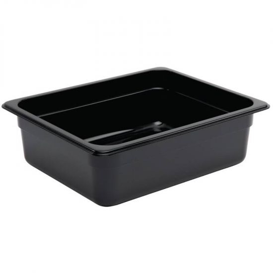 Vogue Polycarbonate 1/2 Gastronorm Container 100mm Black URO U459