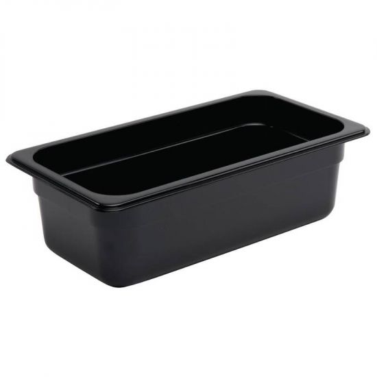 Vogue Polycarbonate 1/3 Gastronorm Container 100mm Black URO U463