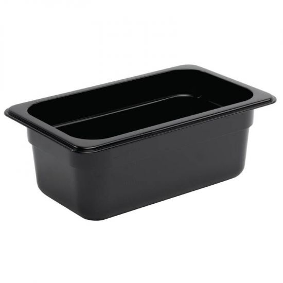 Vogue Polycarbonate 1/4 Gastronorm Container 100mm Black URO U467