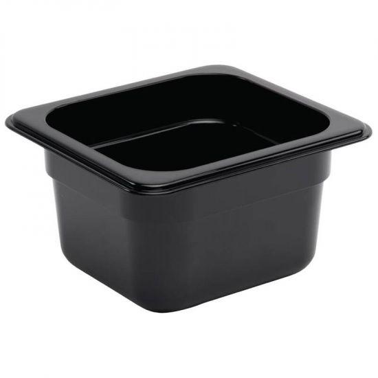 Vogue Polycarbonate 1/6 Gastronorm Container 100mm Black URO U470