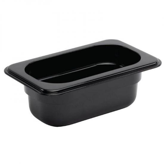 Vogue Polycarbonate 1/9 Gastronorm Container 65mm Black URO U472