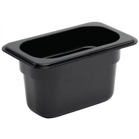 Vogue Polycarbonate 1/9 Gastronorm Container 100mm Black URO U473