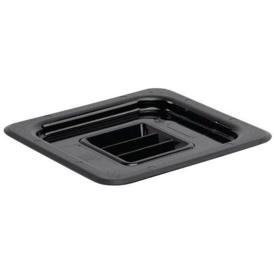 Vogue Polycarbonate 1/6 Black Gastronorm Lid URO U478