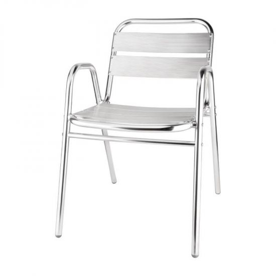 Bolero Aluminium Stacking Chairs Arched Arms (Pack Of 4) URO U501