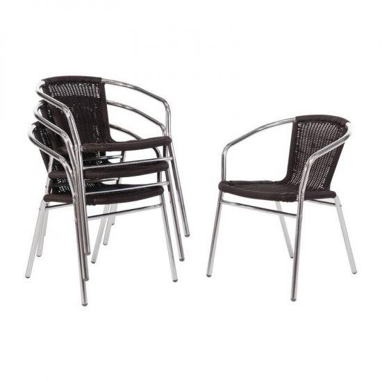 Bolero Aluminium And Wicker Chairs Black (Pack Of 4) URO U507