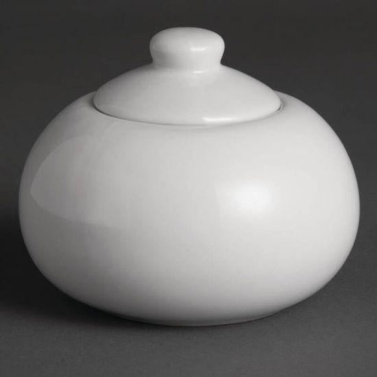 Olympia Whiteware Sugar Bowls And Lids 270ml 9.5oz Box of 12 URO U818