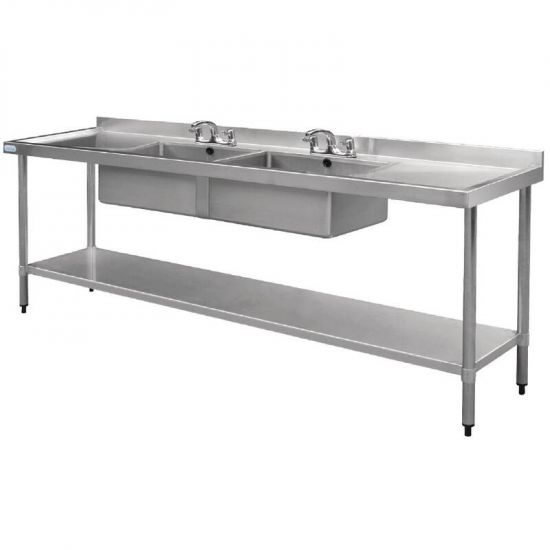 Vogue Stainless Steel Sink Double Bowl And Double Drainer 2400mm URO U910