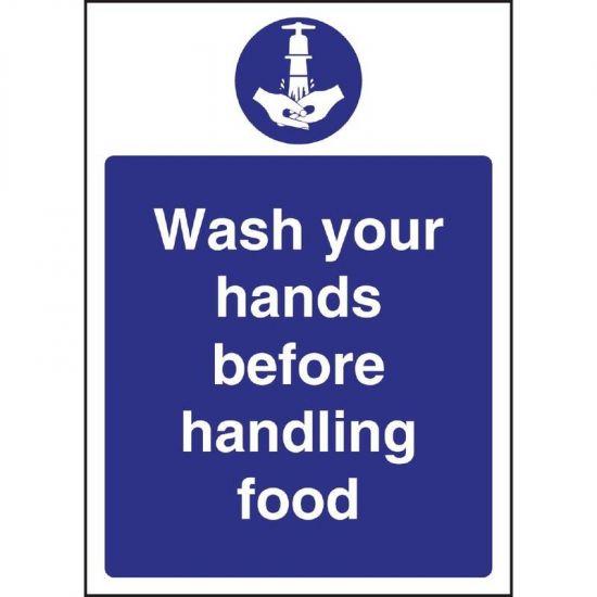 Vogue Wash Hands Before Handling Food Sign URO W110