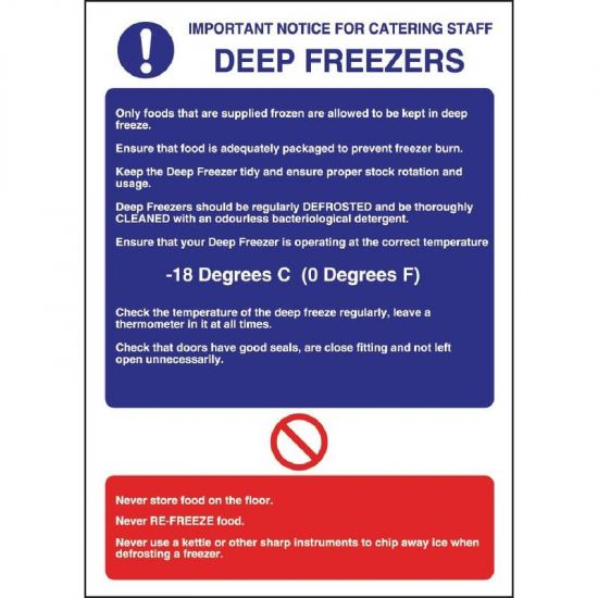 Vogue Deep Freezer Guidelines Sign URO W195