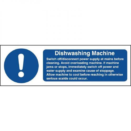 Vogue Dishwasher Machine Safety Sign URO W199