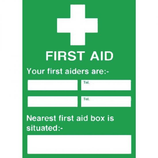 First Aiders Nearest First Aid Box Sign URO Y922