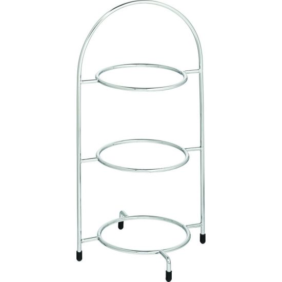 Chrome 3 Tier Cake Plate Stand 15.5 Inch (39cm) - To Hold 3 X 17cm Plates Box Of 1 UTT F91005-000000-B01001