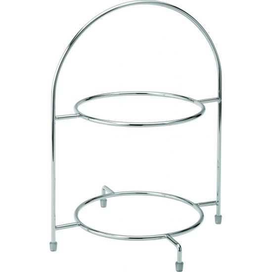Chrome 2 Tier Cake Plate Stand 12.5 Inch (32cm) - To Hold 2 X 23cm Plates Box Of 1 UTT F91202-000000-B01001