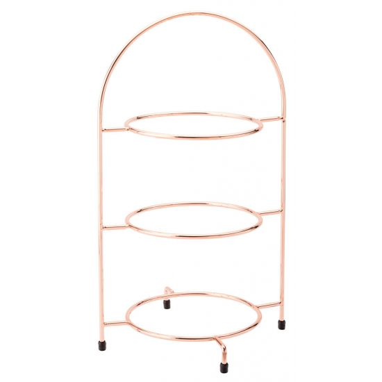 Copper 3 Tier Plate Stand 16.5 Inch (42cm) - To Hold 3 X 23cm Plates Box Of 1 UTT F91203-000000-B01001