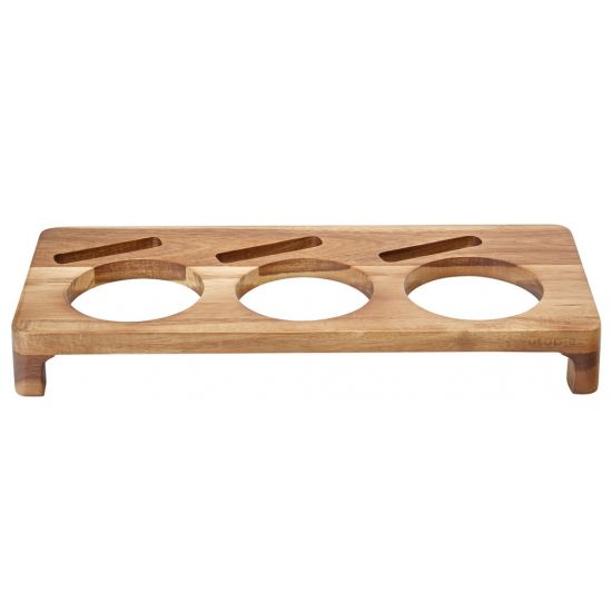 Acacia Presentation Stand To Hold 3 Serving Dishes 16.5 X 7 Inch (42 X 18cm) Box Of 6 UTT JMP963-000000-B01006