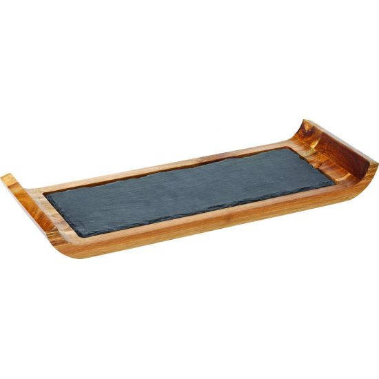 Reversible Acacia Board With Indents 16.25 X 6 Inch (41 X 15cm) Box Of 6 UTT JMP977-000000-B01006