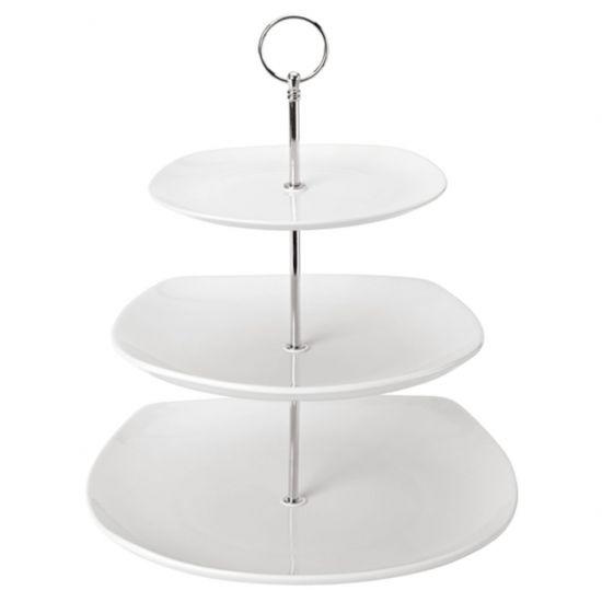 Square 3 Tiered Ceramic Plate 7.75 Inch, 9.75 Inch, 11.5 Inch (19.5cm, 25cm, 29cm) Box Of 1 UTT K90086-000000-B01001