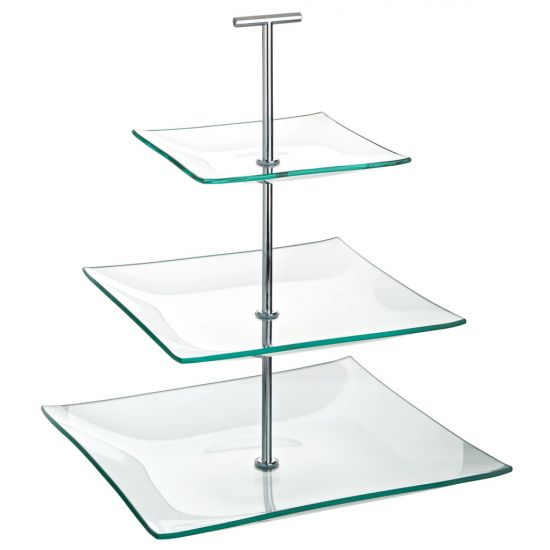 Aura 3 Tiered Square Glass Plate 9.75, 8, 5.75 Inch (24.5, 20, 14.5cm) Box Of 1 UTT R90058-000000-B01001